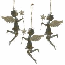 Deko Engel mit Zauberstab zum Hängen Metall Golden, Silbern 15,5cm × 9,5cm 3St