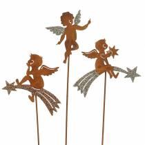 Dekostecker Engel Edelrost Glitter Metall H24–25cm 12St