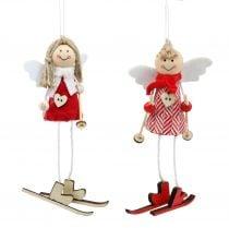 Engel als Dekofigur 15cm Rot, Weiß 4St