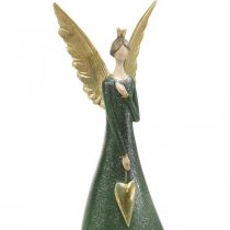 Deko Figur Engel Grün Weihnachtsengel mit goldenem Herz H41cm