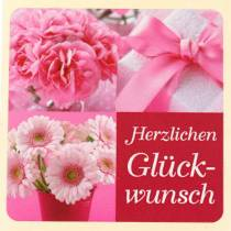 """Etiketten """"Herzlichen Glückwunsch"""" Rosa 3,5cm x 3,5cm 500St"""