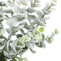 Künstlicher Eukalyptuszweig beschneit Dekozweig Eukalyptus Weihnachten 48cm