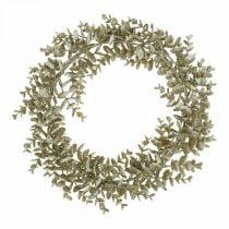 Deko Kranz Künstlicher Eukalyptus Golden, beschneit Ø36cm