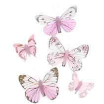 Federschmetterling rosa auf Clip 6cm  10Stück