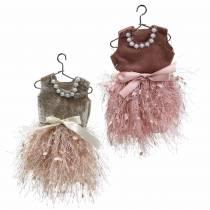 Weihnachtsdeko Elfenkleid am Bügel Rosa, Braun/Creme 16cm 4St sortiert