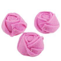 Filz-Rose Rosa Ø8cm H4,5cm 6St