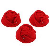 Filz-Rose Rot Ø8cm H4cm 6St
