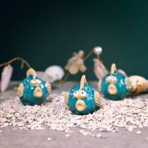 Deko-Fisch Blau, Fisch aus Keramik, Keramikfisch, Maritim L7cm 8St