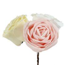 Foamrose Mix Ø10cm Rosa, Creme, Weiß 6St