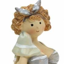 Deko-Figur Dame im Badeanzug Grau 10cm 2St