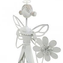 Frühlingsdeko, Blumenfee, Metall-Windlicht, Blütenfee mit Blume 34,5cm