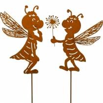 Gartenstecker Biene Edelrost Gartendeko Frühlingsdeko 2St