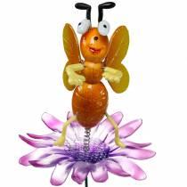 Blumenstecker Biene auf Blume mit Metallfedern Orange, Violett H74cm