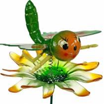 Dekostecker Schmetterling und Blume mit Metallfedern Grün, Orange H70cm