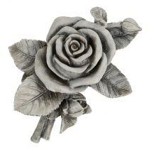 Rose für Grabschmuck Grau 16cm x 13,5cm 2St