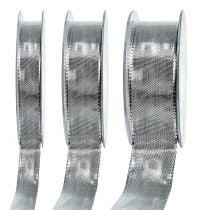 Geschenkband Silber mit Drahtkante 25m