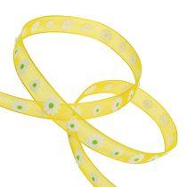 Geschenkband Gelb mit Blüte 10mm 20m