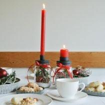 Deko Glas mit Kerzenhalter Schwarz Tischdeko Ø8,5cm H16cm