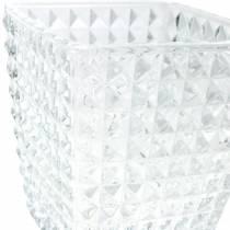 Glaswindlicht Würfel Facettenmuster, Tischdeko, Vase aus Glas, Glasdeko 2St