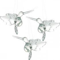 Glasdeko Paradiesvögel, Deko Kolibri, Glasanhänger, Vogel-Deko 3St