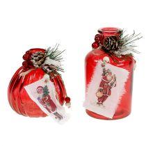 Glasflasche mit Tanne und Zapfen Rot 2St