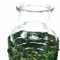 Glasflasche mit Bast Grün H12,5cm 3St
