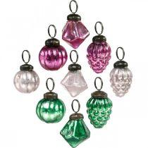Glaskugel-Mix, Diamant/Kugel/Zapfen aus Echtglas, Antik-Optik Ø3–3,5cm H4,5–5,5cm 9St