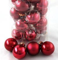 Weihnachtskugel 4cm Rubin Mix 24St
