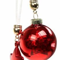 Christbaumschmuck Glaskugel mit Stern Rot 5cm