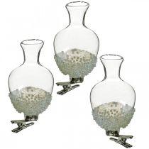 Glasvase mit Clip Glitter und PerlenØ4,9cm H9,5cm Klar 3St