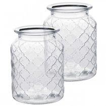 Glasvase Rautenmuster, Windlicht, Deko-Gefäß aus Glas, Tischdeko 2St