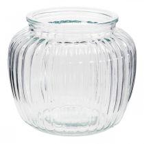 Glasvase gerippt Ø14cm H13cm
