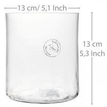 Glasvase zylindrisch Crackle Klar, Satiniert Ø13cm H13,5cm