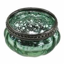 Teelichtglas Antik Mint, Silber mit Metallrand Ø6cm H3,5cm