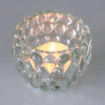 Windlicht aus Glas mit Relief Ø7,5cm H6cm
