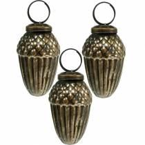 Christbaumschmuck Glas-Eicheln zum Hängen Braun, Golden 6cm 3St