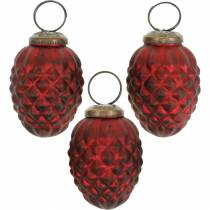 Baumschmuck Zapfen Rot Echtglas 6cm 3St