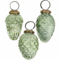 Baumschmuck Herbstfrüchte Transparent, Grün Echtglas 6,5cm 3St