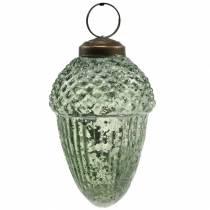 Baumschmuck Eicheln Transparent, Grün Echtglas 9cm 3St