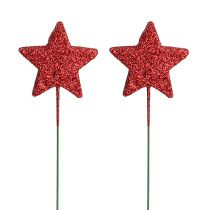 Glitterstern am Draht 4cm Rot L22cm 60St