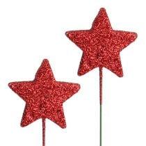 Glitterstern am Draht 5cm Rot L23cm 48St