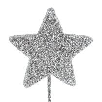 Glitterstern Silber 5cm am Draht  L22cm 48St
