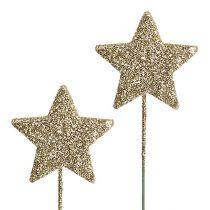 Glittersterne am Draht 5cm Gold L23cm 48St