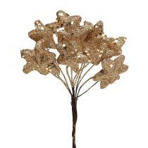 Glitzerstern am Draht Gold 3,5cm 12St