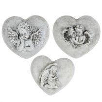 Grabschmuck Herzen mit Engel 9cm 3St