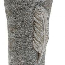 Grabvase mit Feder Grau 25,5cm 2St
