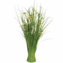 Grasbund mit  Blüten und Schmetterlingen weiß/gelb 70cm