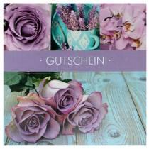 Gutscheinkarte Rose Flieder + Umschlag 1St