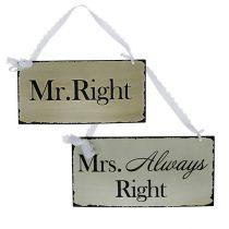 Hänger Mr./Mrs.Always Right 20x10cm Creme