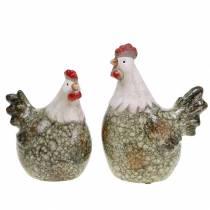 Dekofiguren Henne und Hahn Grau, Weiß, Rot 10,2cm x 7cm H12,7cm 2St
